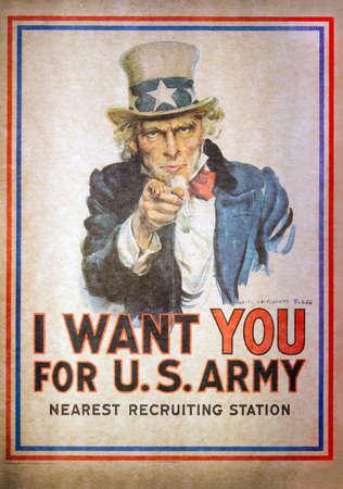 WASHINGTON DC, USA - 11. MAI 2016: Uncle Sam I Want You für das Rekrutierungs-Plakat der US-Armee durch James Montgomery Flagg am nationalen Luft- und Raumfahrtmuseum in der Washington DC Smithsonian-Institution