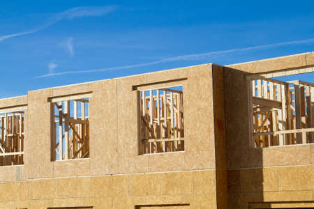 Residential apartment, condominium construction using particle board OSB Imagens - 96476314
