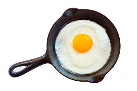 Cast iron pan with fried egg