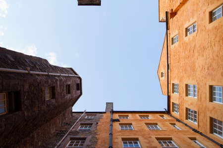 A view into the sky from a close in the old town of Edinburgh
