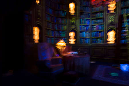fata morgana: Colorful blurred image symbolizing dreams, nightmares and ghostly apparitions. View on an imaginary library with book shelves