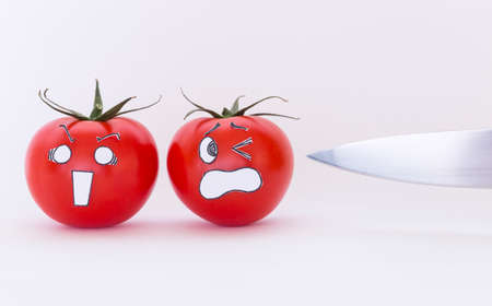 Two fresh red tomatoes with scared faces and a sharp knife in front of white background Stock Photo
