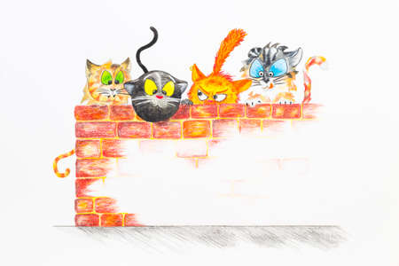 baby playing toy: A group of cartoon style cats hiding behind a red brick wall. Hand drawn illustration.