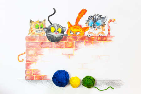 baby playing toy: A group of cartoon style cats hiding behind a red brick wall and longing for the colorful wool balls in front. Hand drawn illustration combined with real yarn. Stock Photo