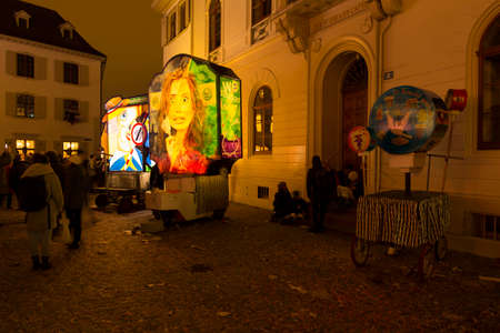 Muensterplatz, Basel, Switzerland - February 20th, 2018. Basel carnival. Beautiful illuminated lantern covering the topic of renewable energy Editorial