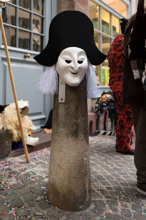 Basel carnival. Gerbergaesslein, Basel, Switzerland - February 21st, 2018. Close-up of a beautiful carnival mask