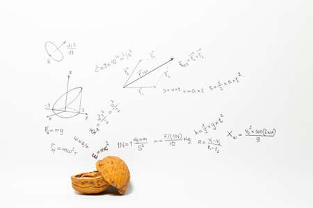 Concept of the phrase physics in a nutshell. Physics formulas drawn on white paper with walnuts