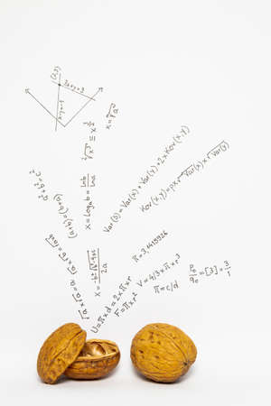 Concept of the phrase mathematics in a nutshell. Mathematical formulas drawn on white paper with walnuts Stock Photo