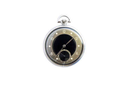Closeup of a beautiful retro style black and silver pocket watch isolated on white background.