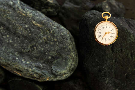 Closeup of a beautiful classic gold pocket watch laying on wet green stones