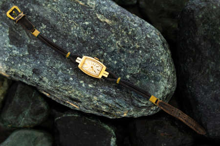 Closeup of a retro style gold colored wristwatch with worn leather straps laying on wet green stones Stock Photo