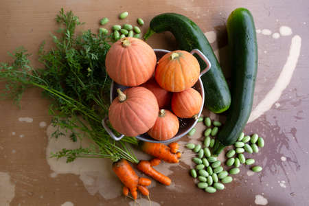 Close-up of freshly harvested organic pumpkins, zucchinis, carrots and pickles on a table with flaking paint. Stock Photo