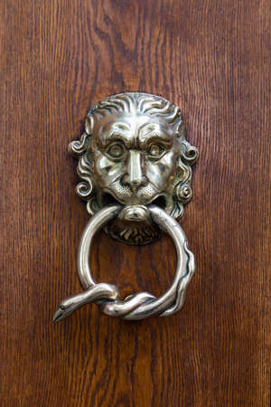 Closeup of a beautiful hand crafted silver doorknocker with a fantasy lion head and a snake wrapped around the handle Reklamní fotografie - 124437757