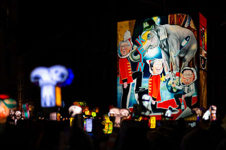 Schifflaende, Basel, Switzerland - March 11th, 2019. Single colorful illuminated main lantern during the carnival morgestraich parade.