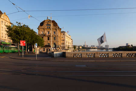 Switzerland, Basel, Mittlere Bruecke, 3rd of August 2019. Side view from the middle bridge on the venerable three kings hotel in Basel early morning. Sajtókép
