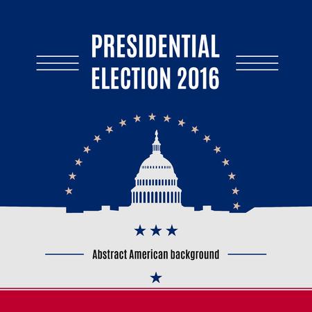 Concept van de de presidentieel verkiezingsdag van de VS met Wit huis en Capitool die licht silhouet met tekstplaats op het bouwen. Vector illustratie Stock Illustratie