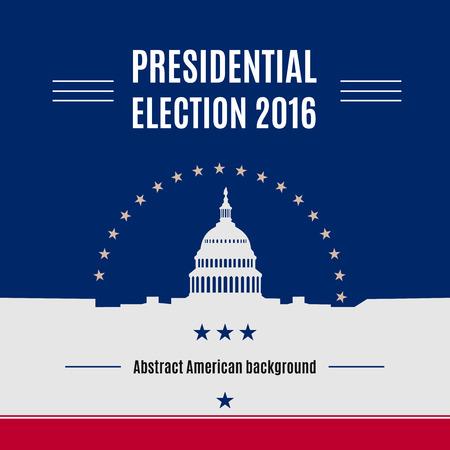 USA presidential election day concept with White house and Capitol building light silhouette with text place on it. Vector illustration Stok Fotoğraf - 65746159