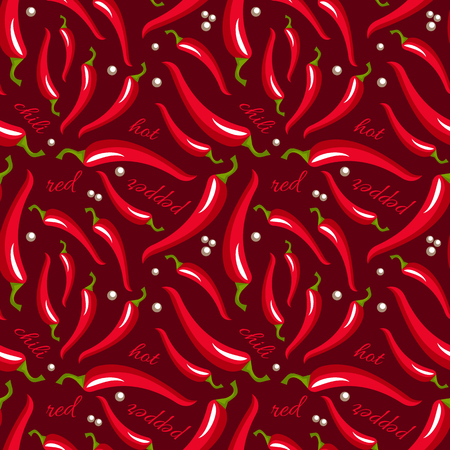 peper: Vector red hot chili peppers seamless pattern. Chili peppers and white peppercorns isolated on a dark brown background. Spices background. Can be used for kitchen design, wrapping paper and wallpaper Illustration