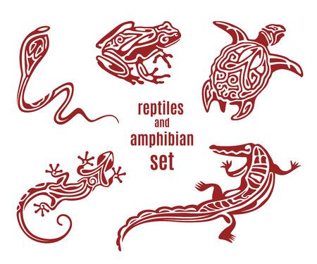 reptiles estilizados y vector icono conjunto de anfibios. silueta ornamental de la serpiente (cobra), rana, tortuga, salamandra (lagarto). Bosquejo de tatuaje. Africano,, diseño tótem indio mexicano. ilustración vectorial Vectores