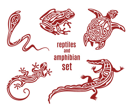 Stylized reptiles and amphibian vector icon set. Ornamental silhouette of snake (cobra), frog, turtle, salamander (lizard). Sketch of tattoo. African, indian, mexican totem design. Vector illustration Illustration