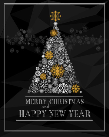 ecard: Merry Christmas and Happy New Year greeting card. Christmas tree from gold and white snowflakes isolated on black polygon background. Vector illustration