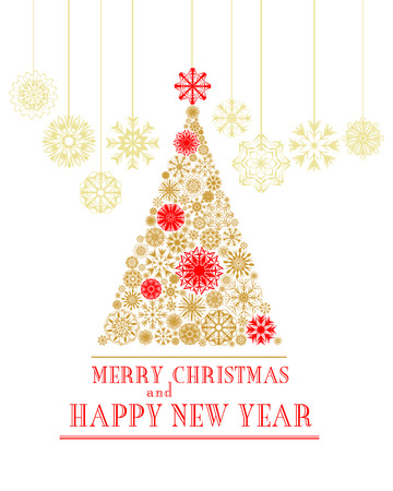 Merry Christmas And Happy New Year Greeting Card. Christmas Tree ...