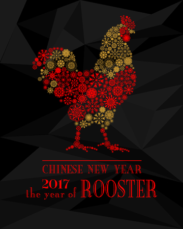 chineese: Red Rooster, symbol of 2017 on the Chinese calendar. Silhouette of red cock from snowflakes isolated on black polygon background. Happy New Year greeting card. Vector illustration