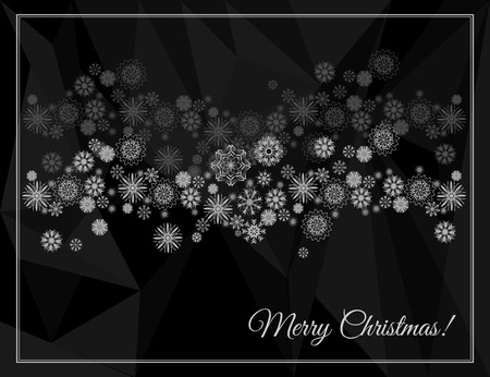 mythic: Merry Christmas greeting card. Abstract polygon background with snowflakes. Vector illustration