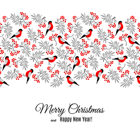 Merry Christmas and Happy New Year greeting card with bullfinch and mountain ash foliage and berries pattern isolated on white. Abstract background for Christmas decoration. Vector illustration