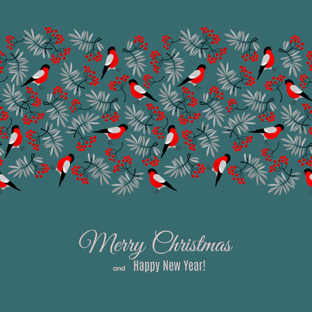 mountain ash: Merry Christmas and Happy New Year greeting card with bullfinch and mountain ash foliage and berries pattern isolated on dark backgroung. Abstract background for Christmas decoration. Vector illustration