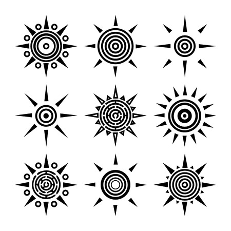 Tribal ethnic boho collection of suns. Outline black sun icons isolated on white background. Set of radial elements for your design. Vector illustration Illustration
