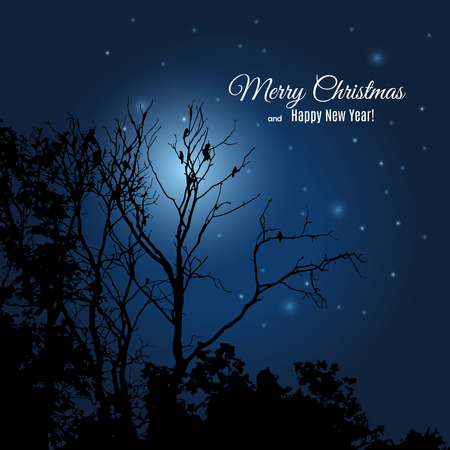Merry Christmas and Happy New Year greeting card. Forest black silhouette against night dark blue sky with the Moon and stars. Illustration