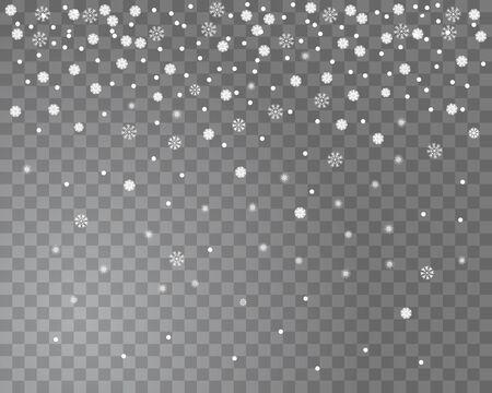 透明な背景に降る雪は。クリスマス デザインの雪の結晶の背景を抽象化します。図  イラスト・ベクター素材