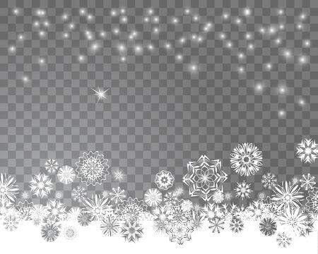 雪が降る。クリスマス デザインの抽象的な雪の結晶。ベクトル図  イラスト・ベクター素材