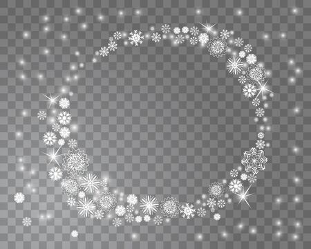 雪はサークルのクリスマス デザインの背景が透明なフレームです。あなたのテキストのための場所と降雪の背景を抽象化します。ベクトル図