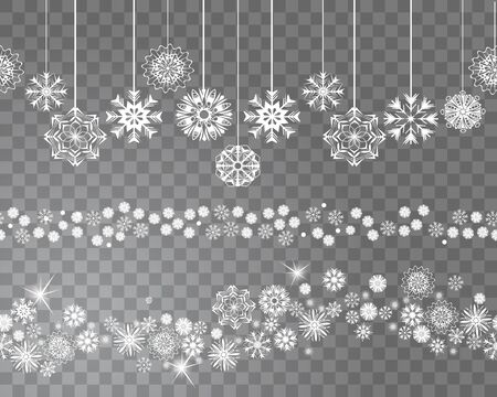 Seamless snowflakes border decoration on transparent background for your Christmas design. Vector illustration