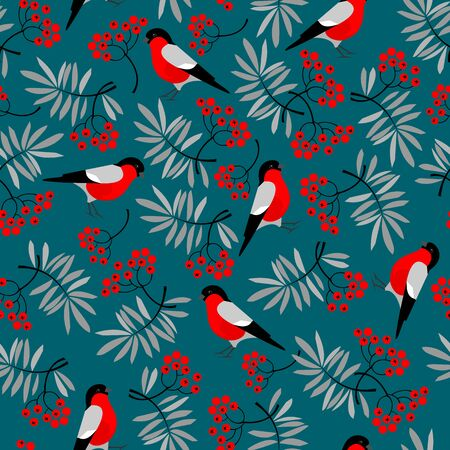 mountain ash: Bullfinch birds seamless pattern with Mountain ash leaves and berries. Merry Christmas collection background. Natural wildlife texture. Vector illustration Illustration