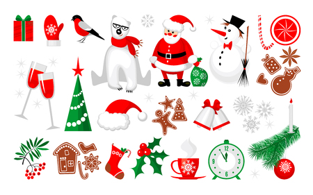 Merry Christmas and Happy New Year icon collection in modern flat style. Xmas set for your holiday design. Vector illustration