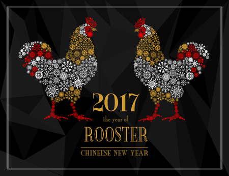 Red and white Roosters, symbol of 2017 on the Chinese calendar. Silhouette of cocks from snowflakes isolated on black polygon background. Happy New Year greeting card. Vector illustration