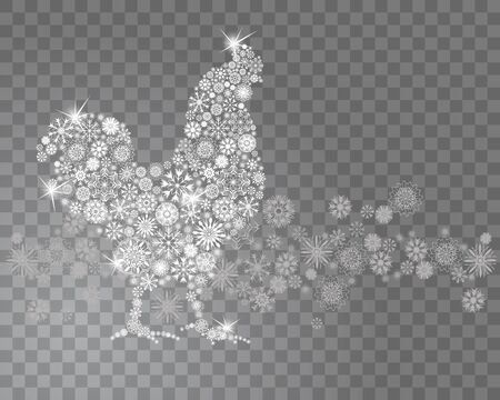Rooster, symbol of 2017 on the Chinese calendar. Silhouette of a cock from snowflakes isolated on transparent background with falling snow. Happy New Year greeting card design. Vector illustration Illustration