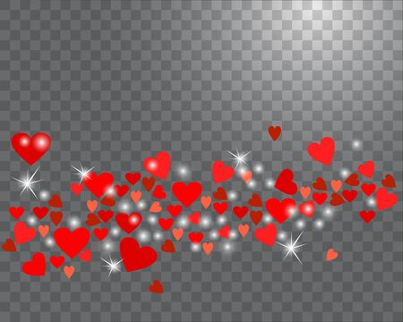 Sparkling hearts on a transparent background. Abstract love background for your Valentines Day design. Vector illustration