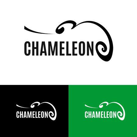 Chameleon Logo gesetzt. Skizzieren Reptil Symbol. Schwarz Tier-Silhouette auf weißem Hintergrund. Abstract Design-Element. Vektor-Illustration Standard-Bild - 69975721