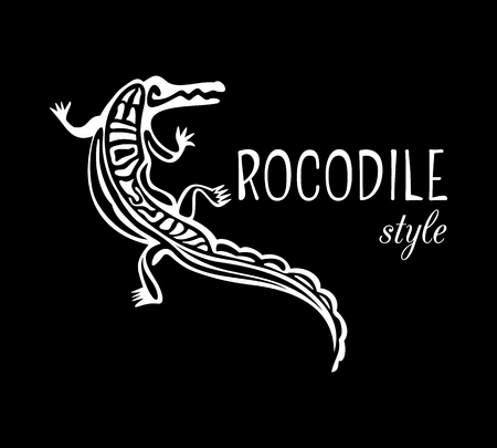 Crocodile Style logo. Outline alligator icon. White animal silhouette isolated on black background. Abstract design element. Vector illustration Illustration