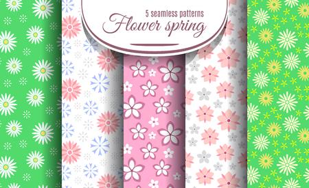 Lente bloem naadloze patroon set. Leuke bloemenachtergrond inzameling voor uw ontwerp. Vector illustratie