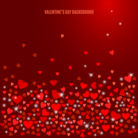 wine background: Abstract love background for your Valentines Day design. Sparkling hearts on dark wine background. Vector illustration