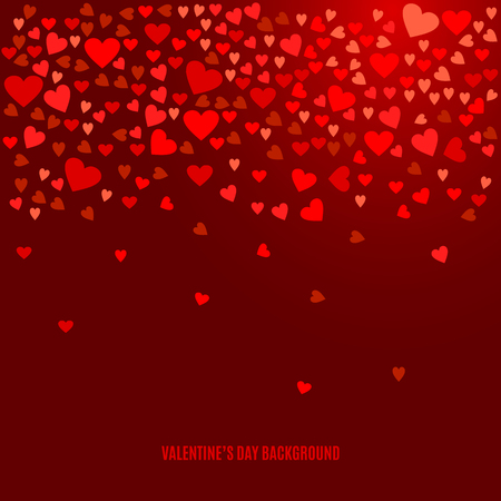 wine background: Abstract love background for your Valentines Day greeting card design. Red Hearts isolated on dark wine background. Vector illustration