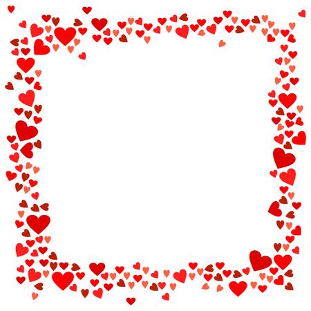 Abstracte liefde voor uw Valentijnsdag wenskaart ontwerp. Rood Hartenkader dat op witte achtergrond wordt geïsoleerd. Vector illustratie