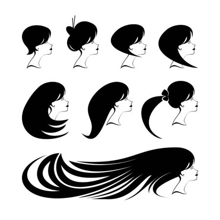 Vector Beautiful woman profiles for beauty salon, spa salon, firm or company. Abstract logo woman's face with different hairdresses. Vector illustration  イラスト・ベクター素材