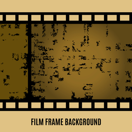 Old film, movie, filmstrip banner for your design. Editable grunge film frame background with space for your text or image. Vector illustration Illustration