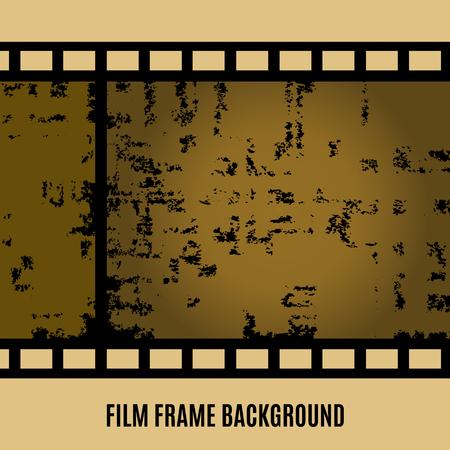 Old film, movie, filmstrip banner for your design. Editable grunge film frame background with space for your text or image. Vector illustration Illustration
